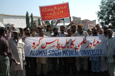 faculty: KARACHIPAKISTAN_  Faculty sindh medical university staged protest rally and demond Pass the bill of Sindh medical university  Immediately 29 Nov. 2012     Editorial
