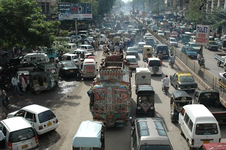 KARACHIPAKISTAN_    Trafic jam on M.A.Jinnha road Karachi as 13 millions populations largest city of Pakistan 4 February 2013