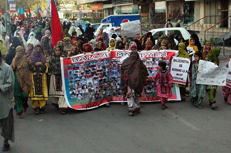 KARACHIPAKISTAN_  Bolch people staged protest rally against Pakistan killing in their home land Balochistan females dfemond United Nation must intrevene 10 Feb 2013         Editorial