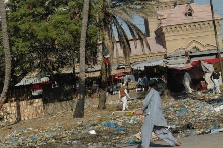 KARACHIPAKISTAN_  Cricket sport is in Pakistani blood males plating cricket empress market main area sarddar empress market once was business hub now has been ruin and slums pakistani play cricket in waste of city  11 Februry 2013