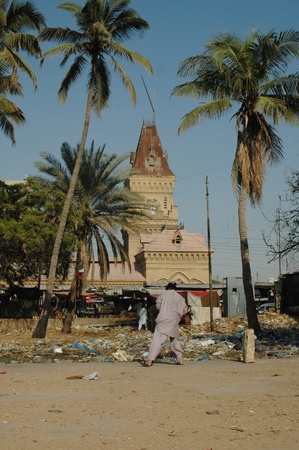 KARACHIPAKISTAN_  Cricket sport is in Pakistani blood males plating cricket empress market main area sarddar empress market once was business hub now has been ruin and slums pakistani play cricket in waste of city  11 Februry 2013          Editorial