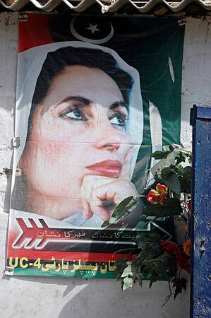 Karachi Pakistan- Poster with Pakistan late prime minister Ms.Benazir Bhutto          01 July 2014