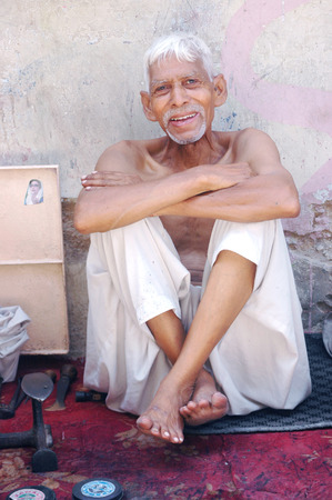 Karachi Pakistan-  Senior chistian male livins in Pakistansslum are Azam Basti         02 July 2014