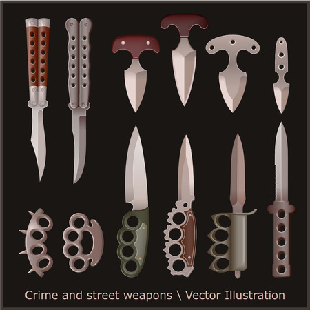 Crime and street weapons set. Trench knife, butterfly knife, push dagger and other. Illustration