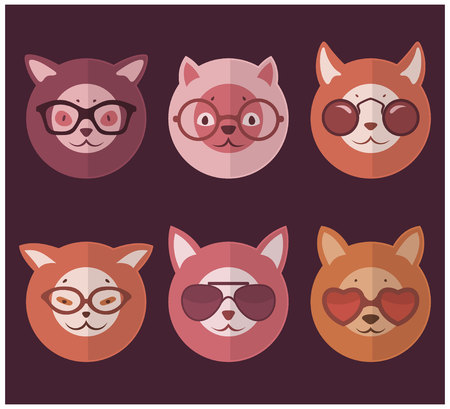 cat's eye glasses: Round Cats With Glasses