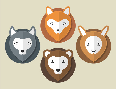 Flat Animal Fox Wolf Bear Hare