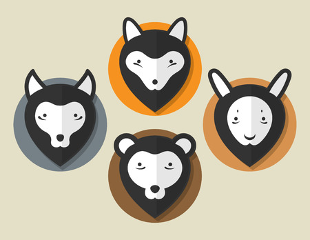 Flat Animal Fox Wolf Bear Hare In Black Color