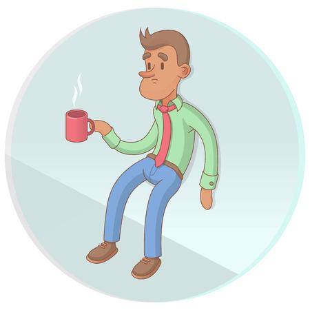 break: Office Worker Drinking Coffee On Break