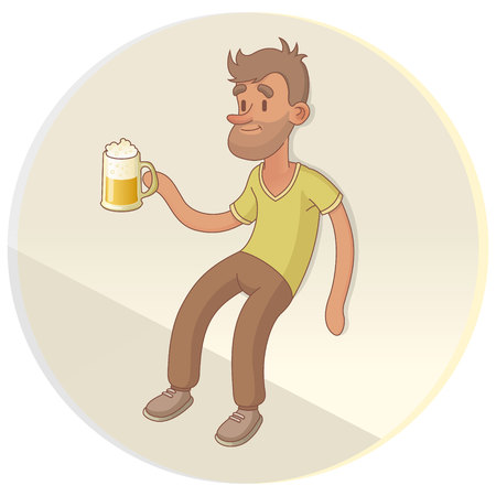 the hangover: A Drunk Man Drinking Beer On The Street