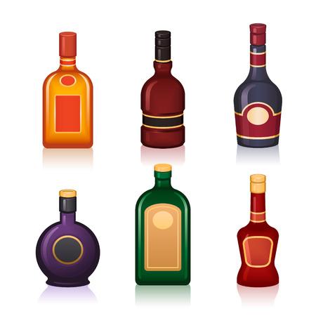 bottles of various shapes out of different alcoholic drinks Ilustração Vetorial
