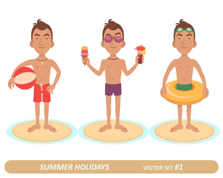 Male characters on the beach. 3 characters. Man with a volleyball. Man with a cocktail and an ice cream. Man in the swim ring.