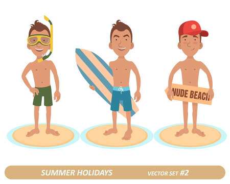 Male characters on the beach. 3 characters. Man with swim mask. Man with a surfboard. Man in a cap on a nude beach.