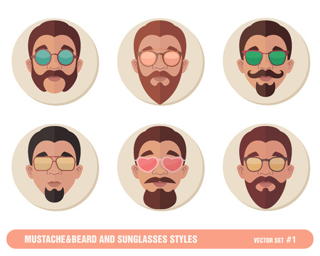 Mustache and Beard and Sunglasses styles.
