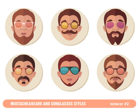 style goatee: Mustache and Beard and Sunglasses styles.