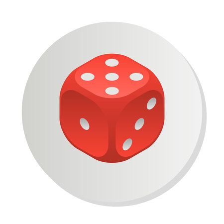 Red dice with rounded corners.