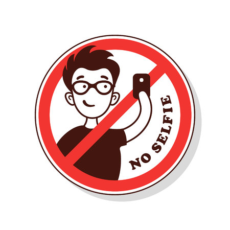 No symbol. Prohibition sign. No selfie. Illustration