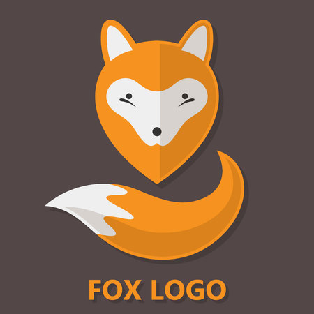 Fox icon. Flat design.
