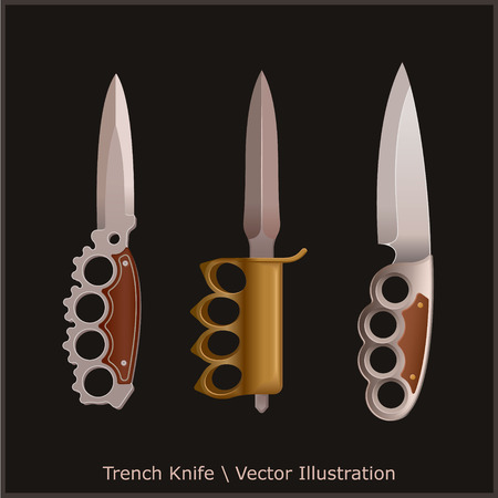 Trench Knife With Brass Knuckles. 3 Knives. Illustration