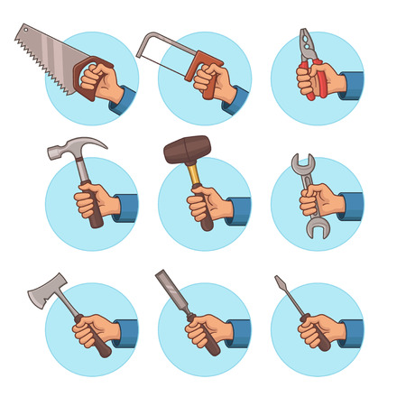Tools Icon Set. Hand Icon Set. Part 1. Vector Illustration.