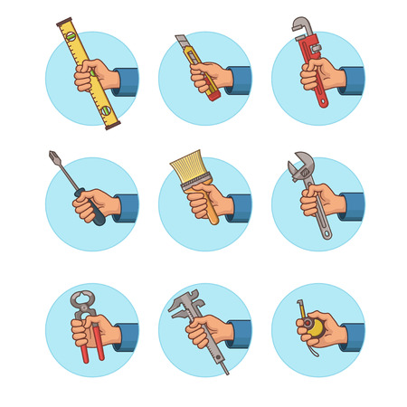 Tools Icon Set. Hand Icon Set. Part 2. Vector Illustration. Illustration