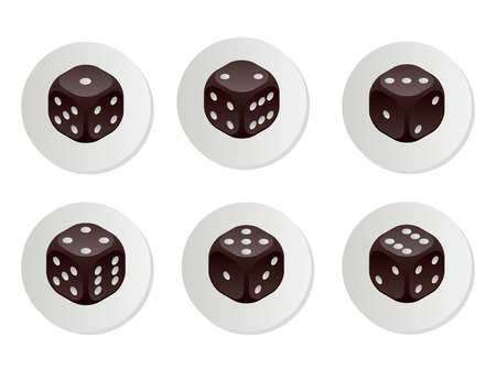 Black dice with rounded corners. 6 different variations. Vector Illustration.