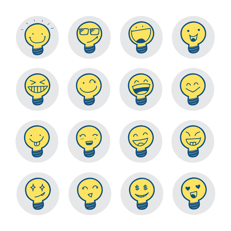carita feliz caricatura: Símbolos idea con la emoción. Ilustración del vector.