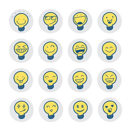 lampada: Simboli idea con emozione. Illustrazione vettoriale. Vettoriali