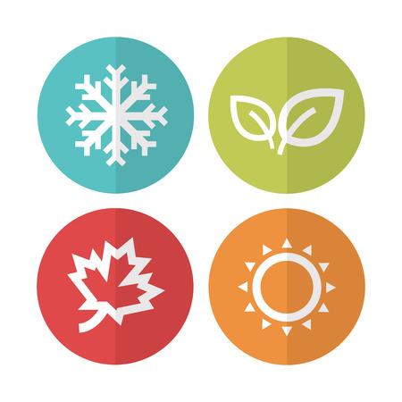 estaciones del a�o: Ilustraci�n icons.Vector Temporada.
