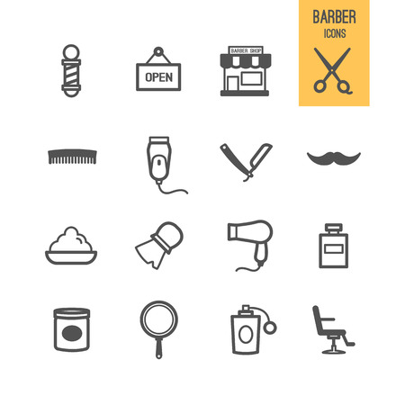 Barber icons. Vector illustration. Vettoriali