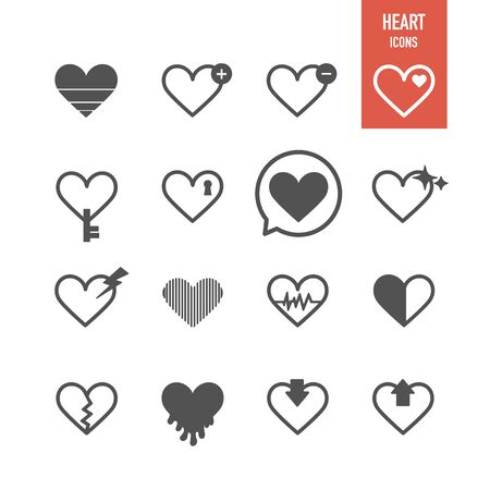 Heart icons. Vector Illustration.