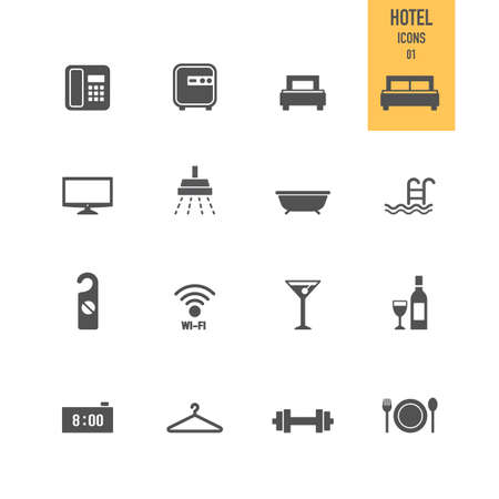 Hotel icons. Vector Illustration.