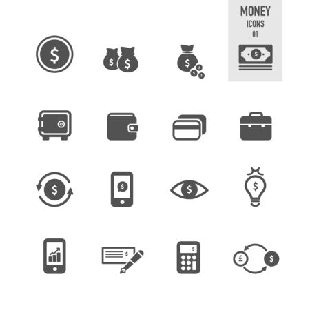 Money icons. Vector Illustration. Illustration