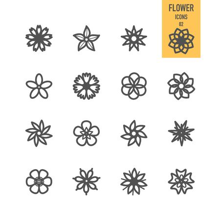 Flower icons. Vector illustration. Illustration