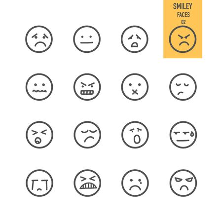 Smiley and Emotion icons. Vector illustration.
