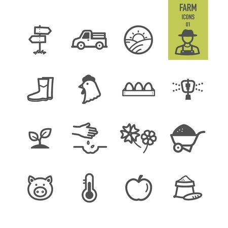 Agriculture and Farm icons. Vector illustration.
