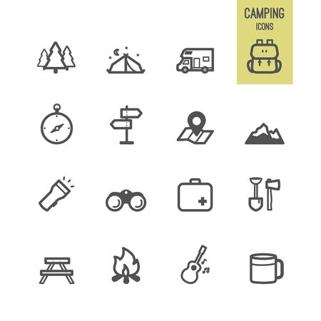 Camping icons. Vector illustration.
