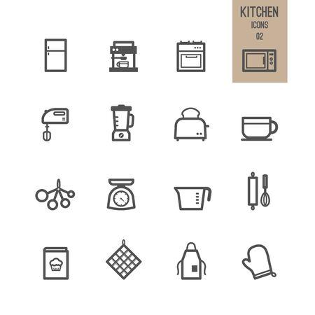 Kitchen icons. Vector illustration. Stock Vector - 85768644
