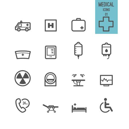 Medical and healthcare icons Vector illustration.