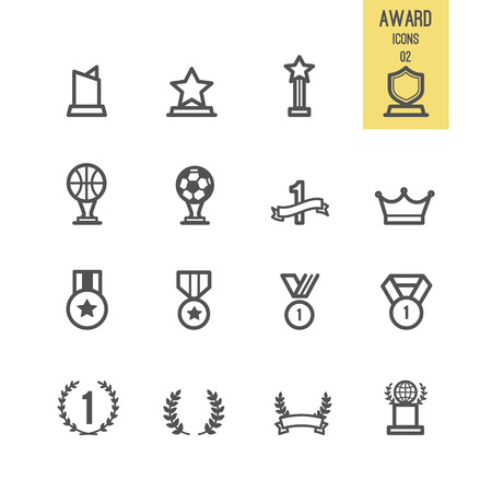 Award and trophy icons. Vector illustration. Illustration