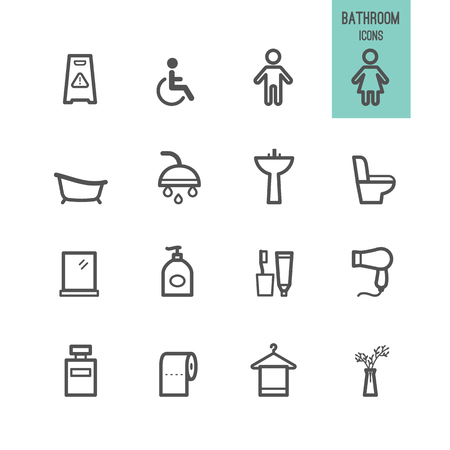 Bathroom icons. Vector illustration.