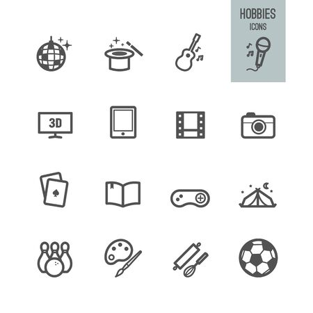 Hobby and entertainment icons.  Vector illustration.