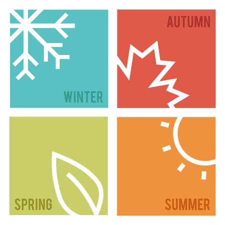 4 Season flat. Vector illustration.