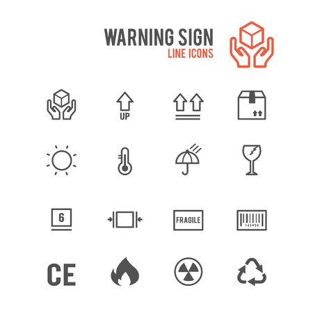 Warning icons. Vector illustration.