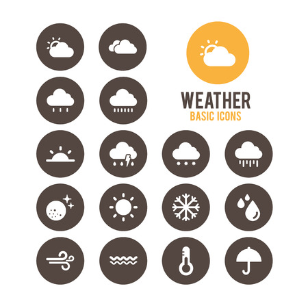 Weather icons. Vector Illustration.