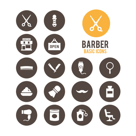 Barber icons. Vector Illustration.