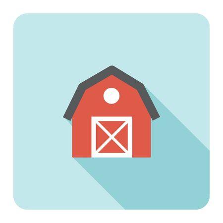 Red barn farm flat icon. Vector illustration. Stock Vector - 85778410