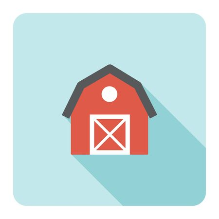 Red barn farm flat icon. Vector illustration. Illustration