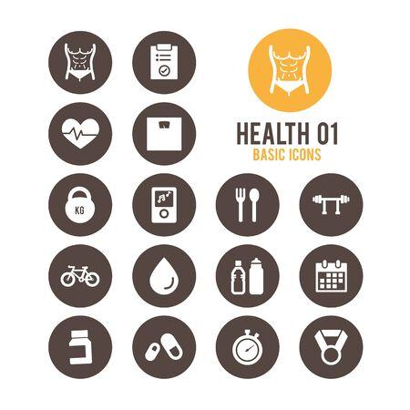 Health icons. Vector Illustration. Stock Vector - 85768655