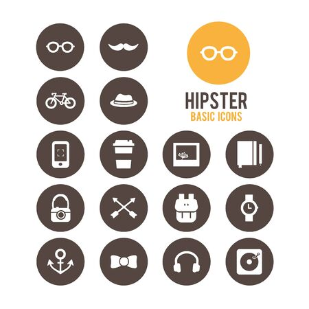 Hipster icons. Vector illustration. Stock Vector - 85768656