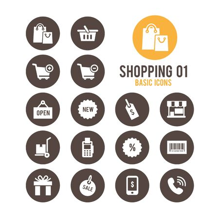Shopping and E-commerce icons. Vector illustration. Stock Vector - 85752126